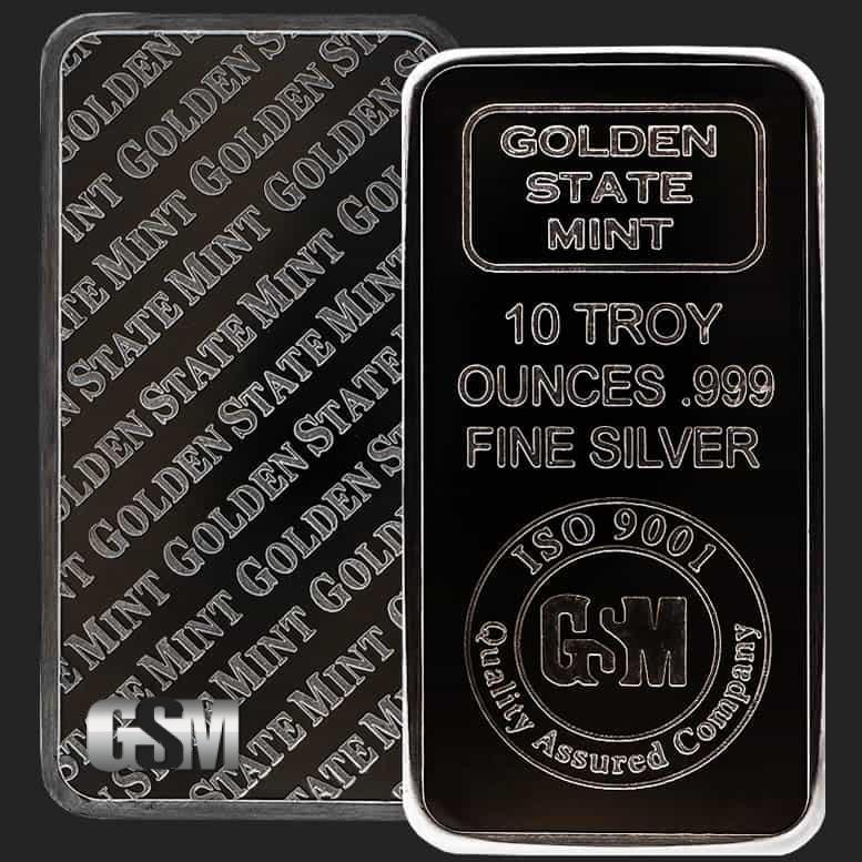 10 Oz Golden State Mint Silver Bullion Bar 999 Fine