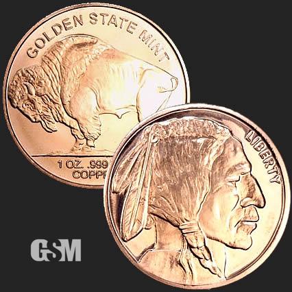 Buffalo Nickel 1//4 oz Copper Round Coin .999 Fine Bullion Quantity 20 Coins