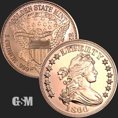 Drapped Bust 1804 Liberty 1 oz  Copper Round