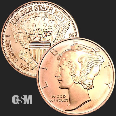 1 OZ COPPER ROUND MERCURY DIME OBVERSE DESIGN