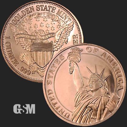 1 oz Copper Round Statue Of Liberty
