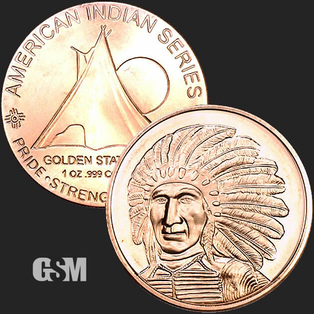 Native Americans Sitting Bull 1oz Pure Copper Bullion Round!!