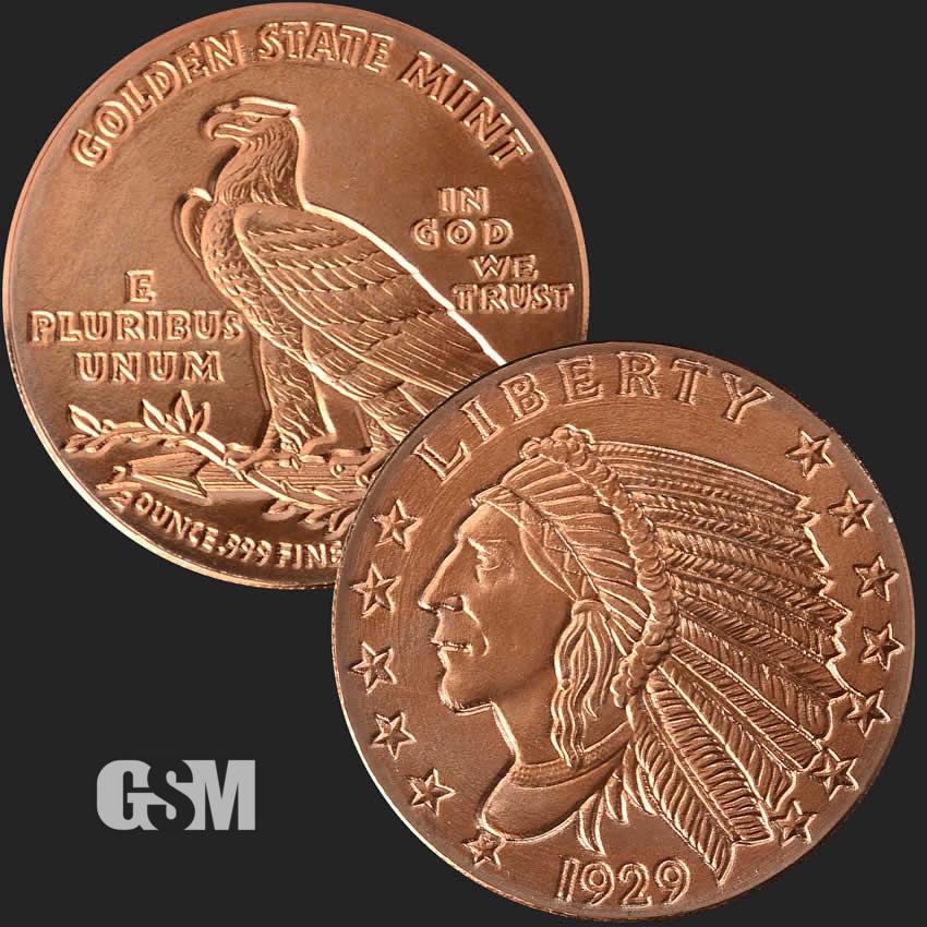 Incuse Indian 1929 1//4 Oz Copper Round