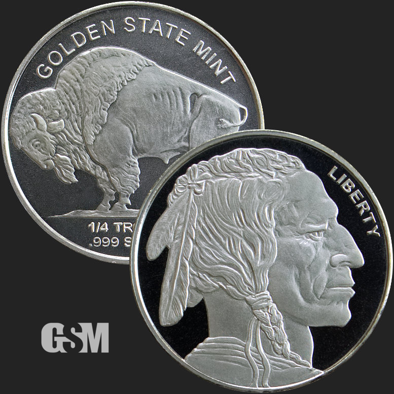 Indian Head// Buffalo 1//4 oz .999 Fine Silver Rounds.
