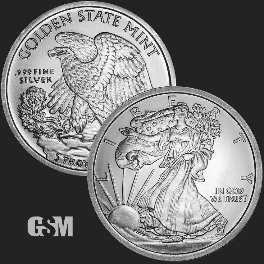 Silver 5 oz Walking Liberty Bar