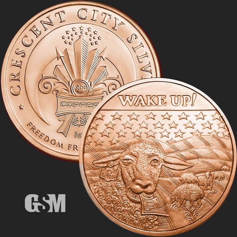 1 Ounce .999 Copper Round Trade Dollar 5 Coins