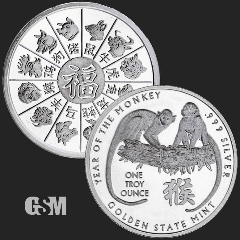 2016 1 oz Silver  Monkey bullion round