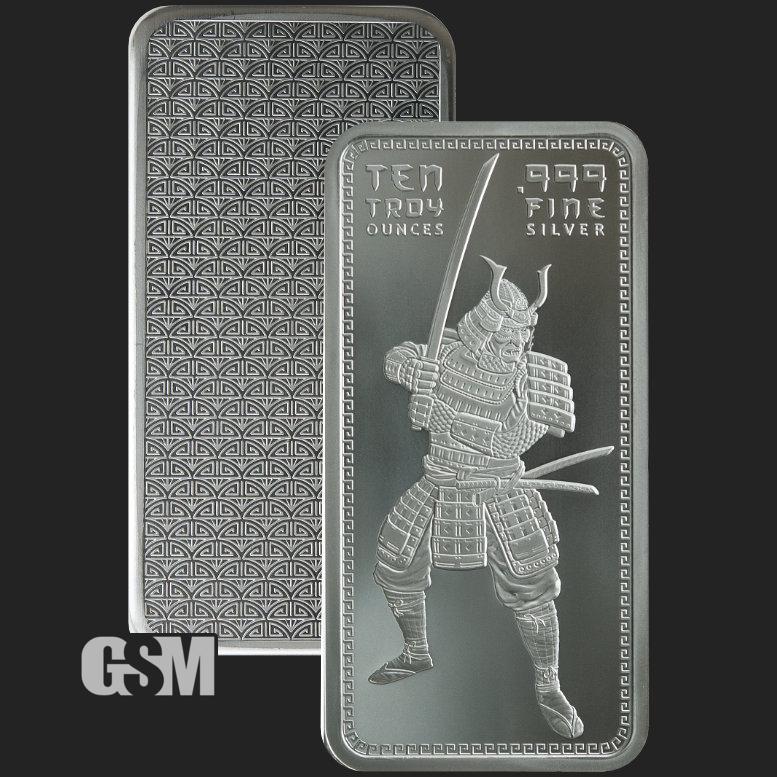 10 Oz Samurai Silver Bullion Bar 999 Fine