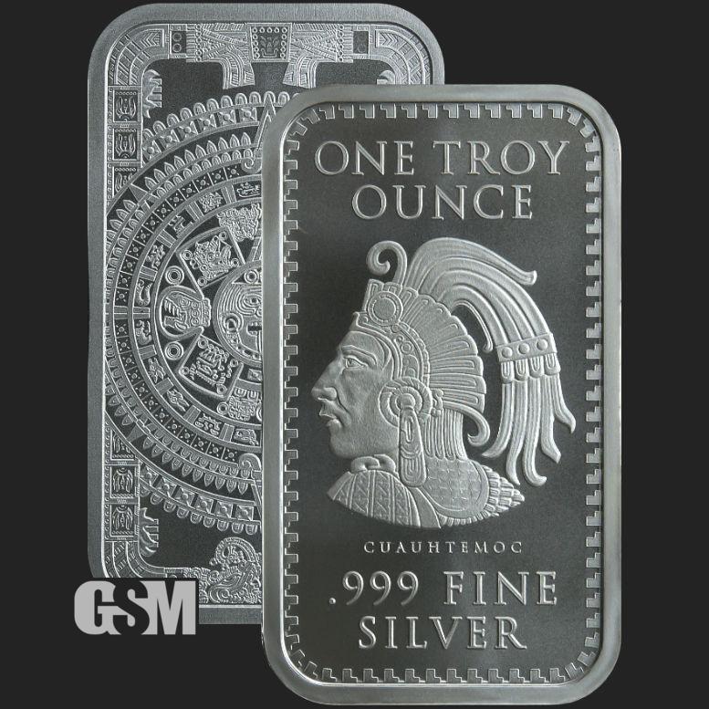 10 oz Aztec Calendar Bar Silver