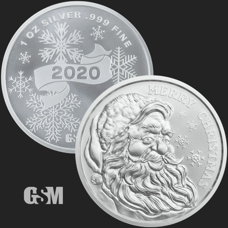 1 oz Merry Christmas Santa 2020 BU Silver Round