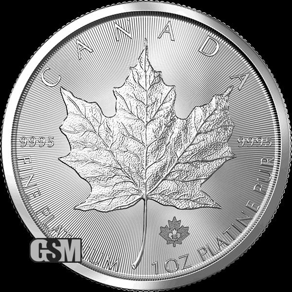 .9995 Fine Platinum 1 oz Canadian Platinum Maple Leaf $50 Coin Random Year