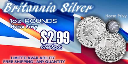 Britannica silver round horse privy - 2.99 over spot
