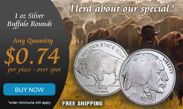 Silver Buffalo on sale only $0.74 over spot