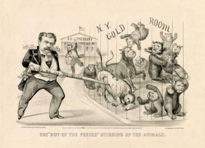 "The ""Boy of the period"" stirring up the animals, 1869. Print shows a caricature of financier Jay Gould, left, who attempts to corner the gold market, represented by bulls and bears in a cage. Credit: Library of Congress"