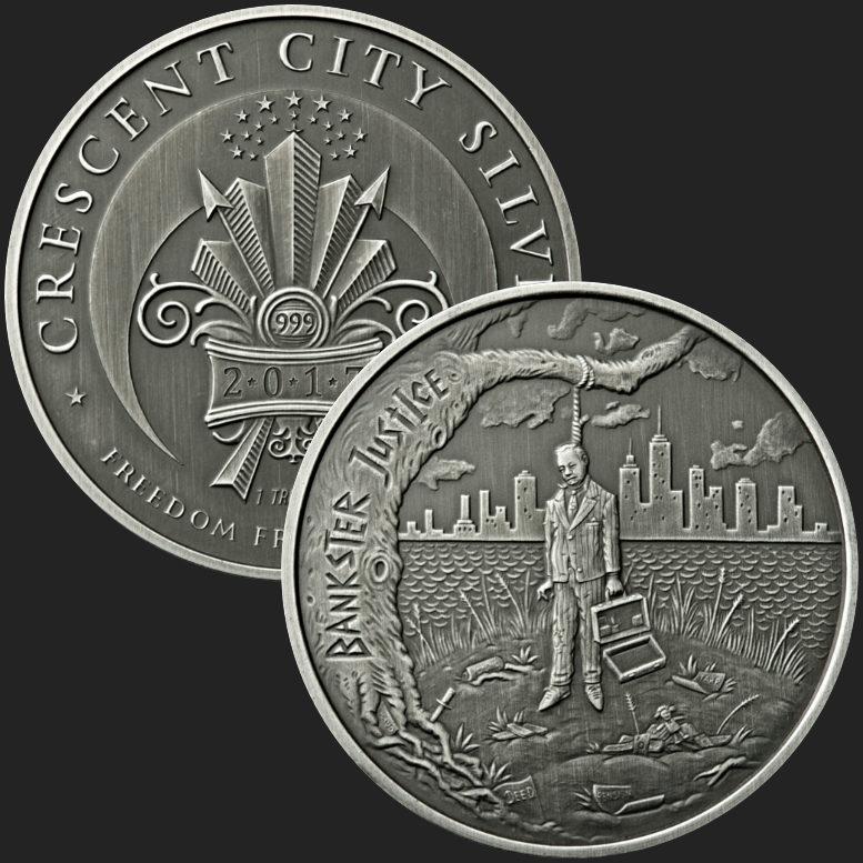 Bankster Justice 1 oz .999 Copper BU Round USA Made All American Bullion Coin
