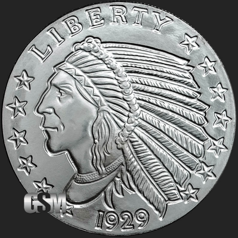 Incuse Indian 1 Oz Silver Round 1 Oz Silver Coin