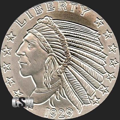 Incuse Indian 5 Oz Silver Round 5 Oz Silver Coin