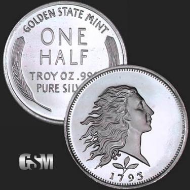 Flowing Hair 1/2 oz Silver Coin