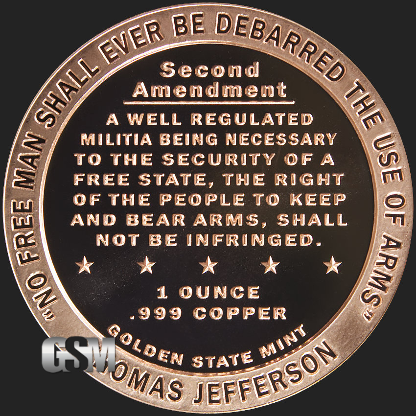 Second Amendment One Ounce Copper Round Nice Mint Bullion Other Bullion