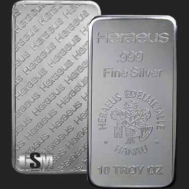 Heraeus 10 oz Silver Bar