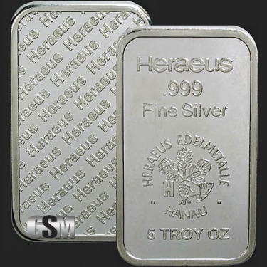 Heraeus 5 oz SIlver Bar