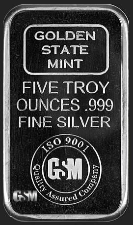 Golden State Mint 5 Oz Silver Bars 5 Oz Silver Bar