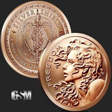 2 Each 1 Oz Copper Round Coins & Paper Money Seated Liberty Fine Workmanship Bullion
