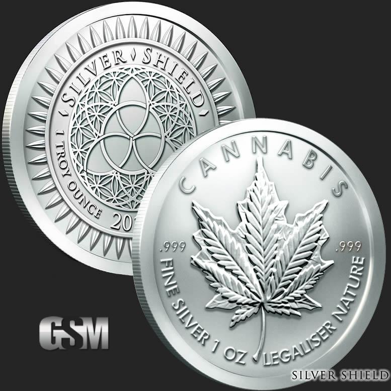 Cannabis 1 Oz Silver Round 1 Oz Silver Coin