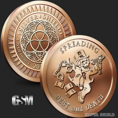 Spreading Debt and Death 1 oz Copper Coin