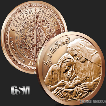 1 oz joy to the world copper bullion round 999 fine