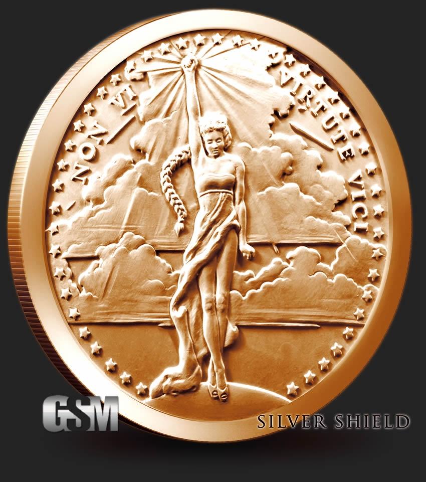 Non Vi Virtute Vici 1 Oz Copper Round Coin Silver Bar Liberty Walking 1oz Detail Image Shield
