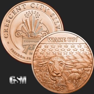 Wake UP 1 oz Copper Coin