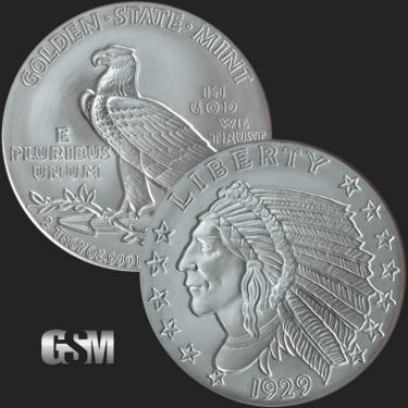 Incuse Indian 2 oz Silver Coin