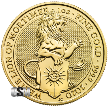 2020 1 oz Gold Queens Beast White Lion of Mortimer