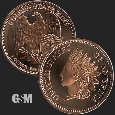 Indian Head 1 oz Copper Coin