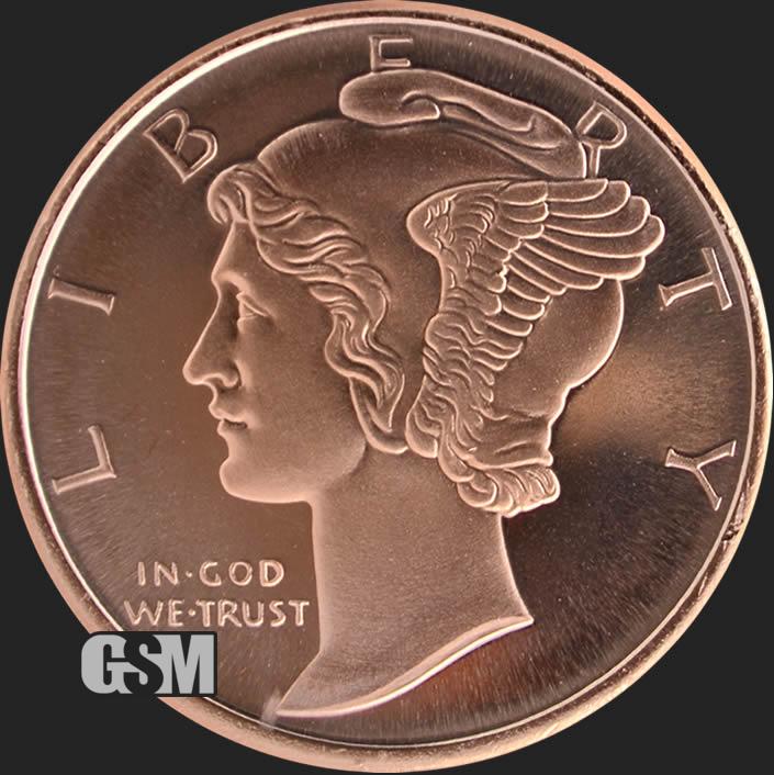 Copper Round Coin  GSM MERCURY  Dime  design  1 oz