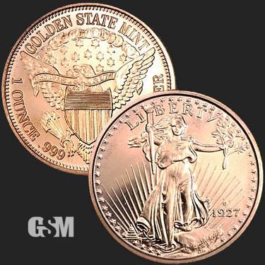 St Gaudens 1 oz Copper Coin