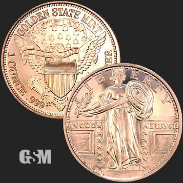 Standing Liberty 1 oz Copper Coin