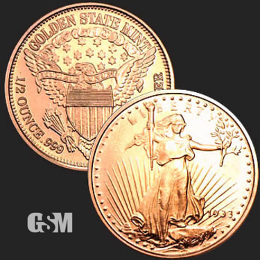 St Gaudens 1/2 oz Copper Coin