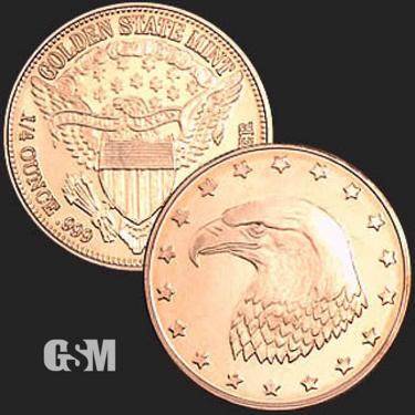 Eagle Head 1/4 oz Copper Coin