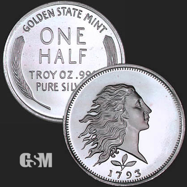 Flowing Hair 1/2 oz Silver Coin