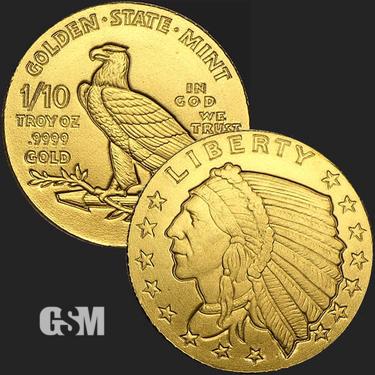 Incuse Indian 1/10 oz Gold Coin