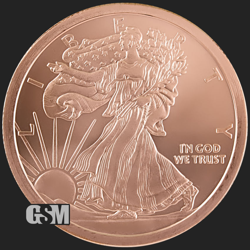 Standing Liberty Design Golden State Mint 1//4 Oz .999 Copper Fractional Round