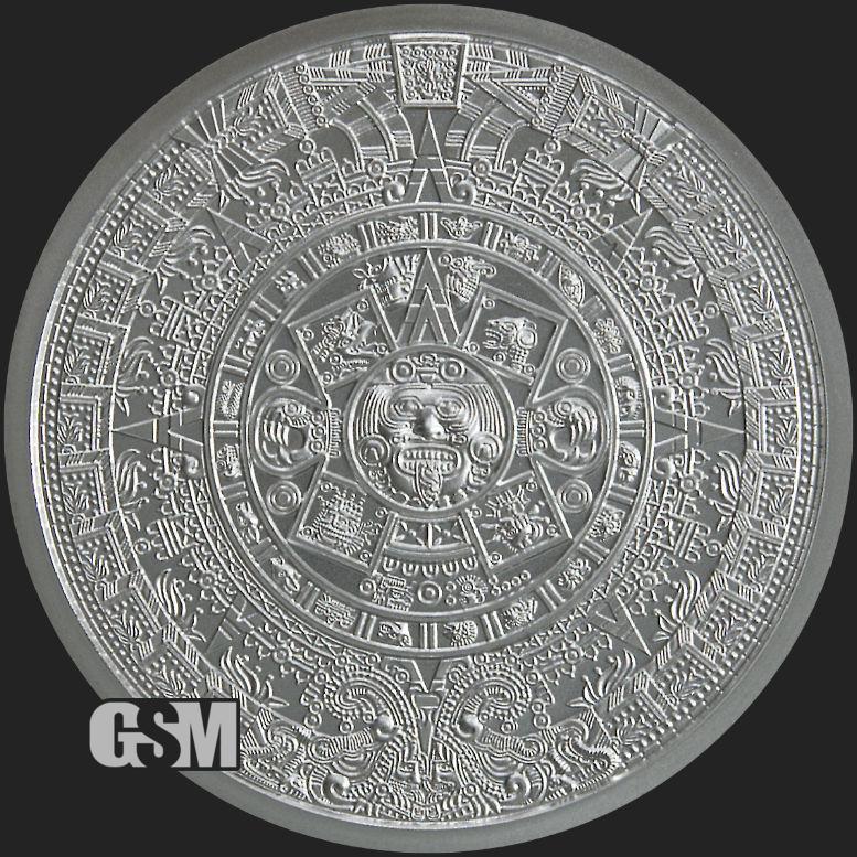 Aztec Calendar One Troy Ounce Fine .999 Silver Coin BU Round 1oz in Capsule