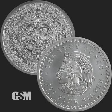 1 oz Silver Round Aztec Warrior Aztec Calendar Cuauhtemoc ENCAPSULATED