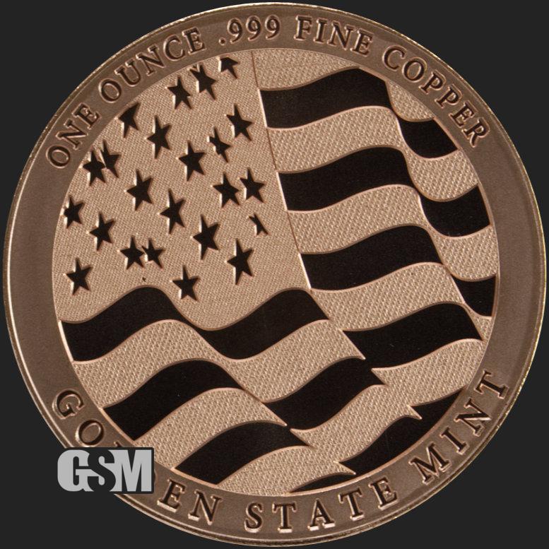 Home Of The Free Because Of The Brave USA Flag 1 oz Copper USA Made BU Round