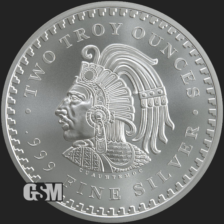 Aztec Calendar BU rounds .999 fine silver 2 oz