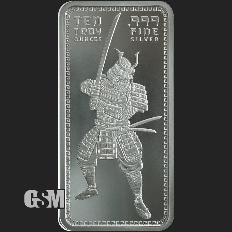 SAMURAI WARRIOR art bar .999 fine silver 1 oz