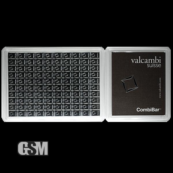 100 gram Valcambi Silver CombiBar in Assay Card 100 x 1 gram