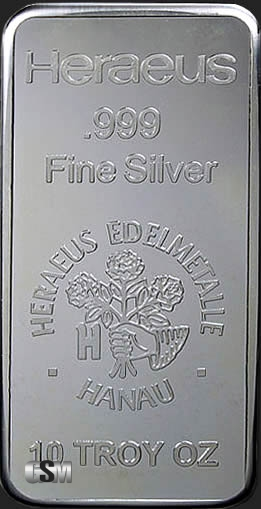10 Oz Heraeus Silver Bullion Bars 999 Fine Buy Online